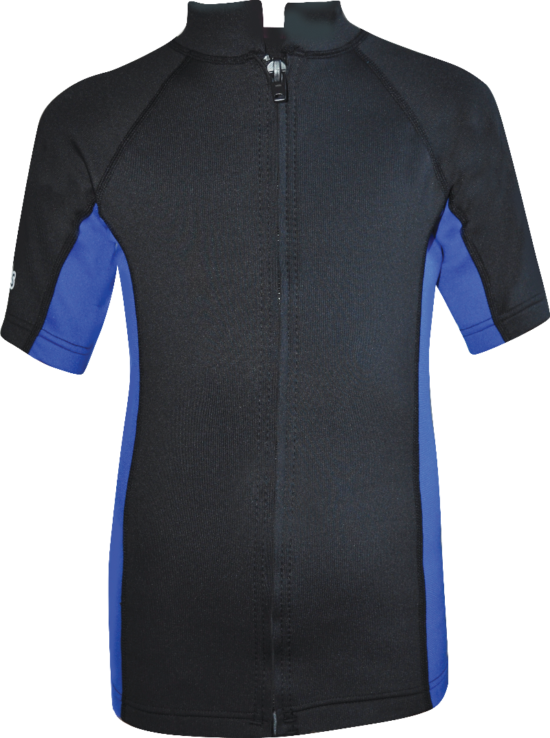 Regular size kids wetsuit top. Black Blue. Full zip at front.