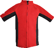 Regular size kids wetsuit top. Short Sleeve.  Red Black. Full zip in the  front.