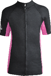 Regular size kids wetsuit top. Black Pink. Full zip at front.