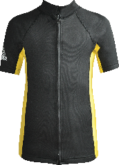 Regular size kids wetsuit top. Black Yellow. Full zip at the front.