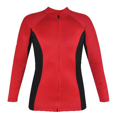 Women's Chlorine Resistant Instructor Series Wetsuit top. Red Black Long Sleeve. Full Zip