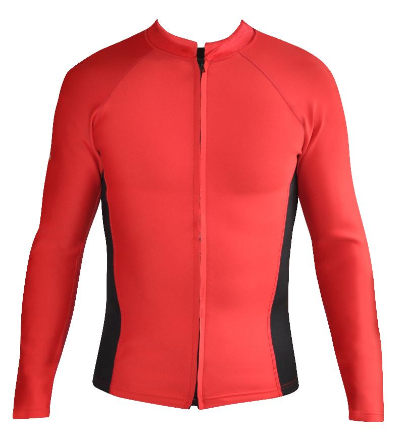 Men's Instructor Series. Chlorine Resistant Wetsuit Top. Long Sleeve. Red Black. Full Zip