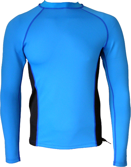 Men's Ocean Series wetsuit top. Blue Black. Long Sleeve.