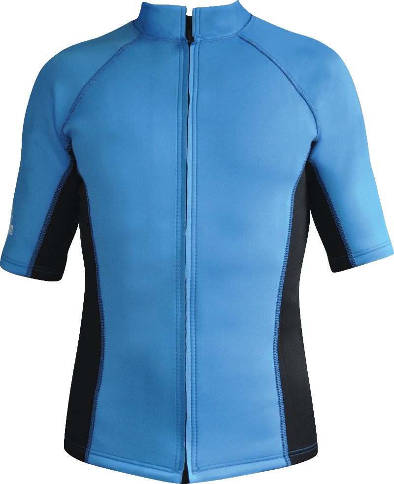 Men's Instructor Series Chlorine resistant Wetsuit Top. Short sleeve. Blue Black.Full Zip.