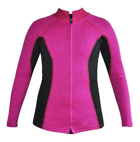 Women's  Chlorine resistant Instructor Series Wetsuit top. Long sleeve. Pink with Black sides. Full zip.