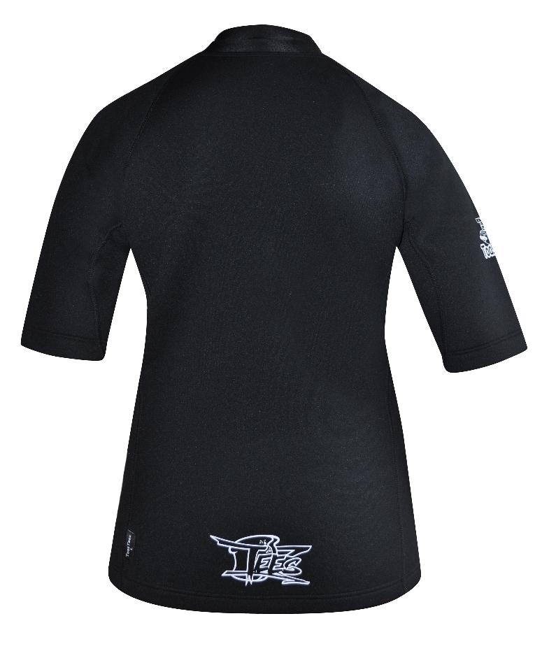 Women's Instructor Series Chlorine resistant. Short sleeve.  Black  Full zip at front.