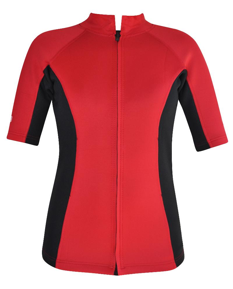 Women's Chlorine Resistant Wetsuit Top Short Sleeve Red Black