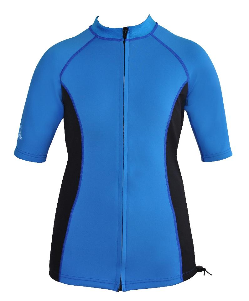 Women's Ocean series wetsuit top. Blue Black. Short Sleeve. Full zip.