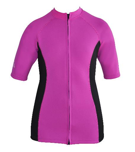 Women's Ocean series wetsuit top. Pink Black. Short Sleeve. full zip.