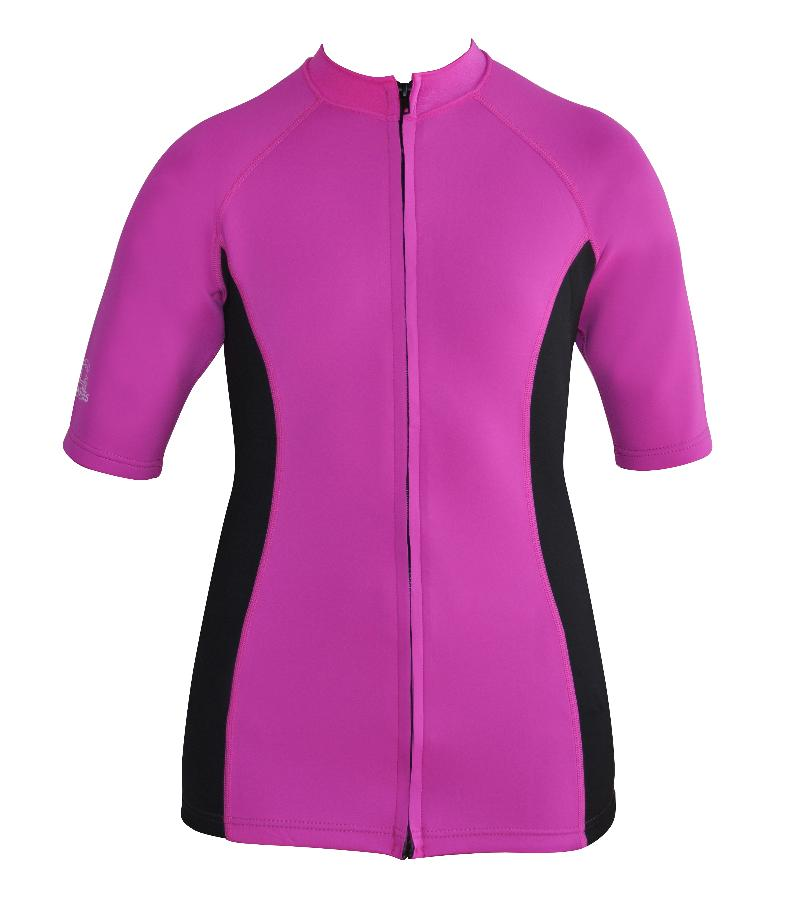 Women's Instructor Series Chlorine resistant. Short sleeve. Pink Black. Full zip