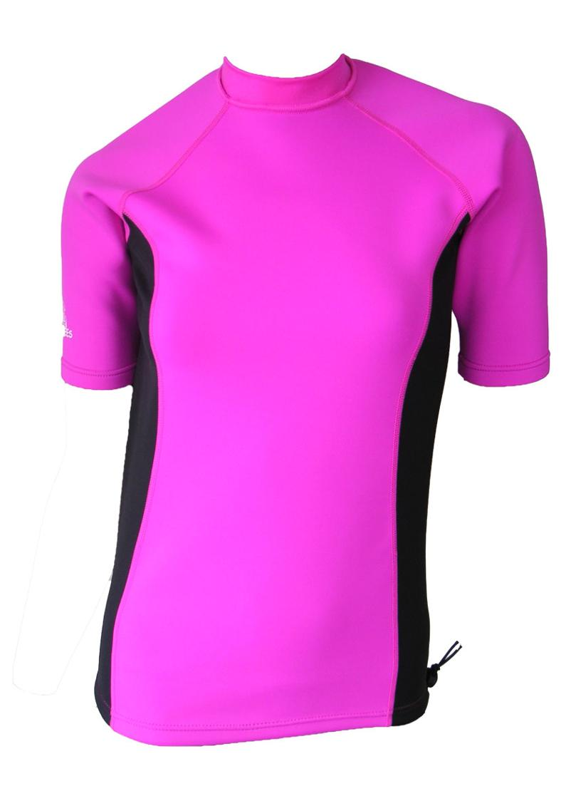 Women's Ocean series wetsuit top. Pink Black. Short Sleeve.