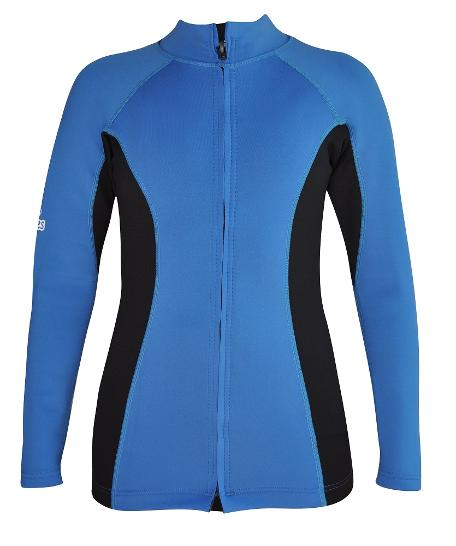 Women's Chlorine Resistant Instructor Series Wetsuit top. Blue Black. Long Sleeve. Full Zip Wet