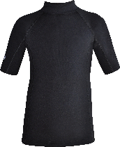 Regular size kids wetsuit top. Short Sleeve. Black. Short zip in neck.
