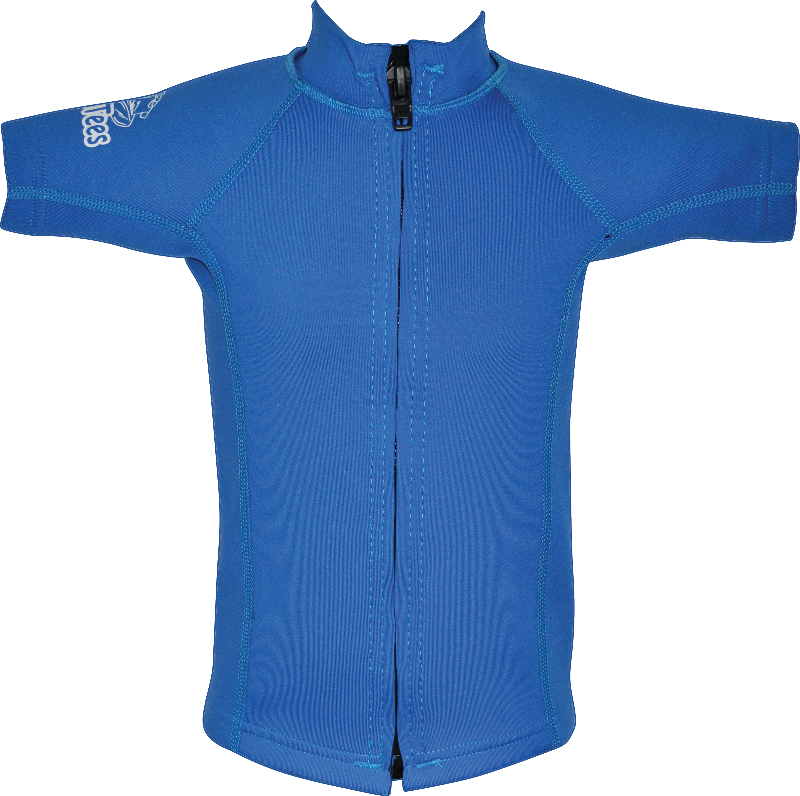 Regular size kids Wetsuit top. Blue. Short Sleeve. Full zip at front.