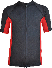 Regular size kids wetsuit top. Black Red. Full zip at front.