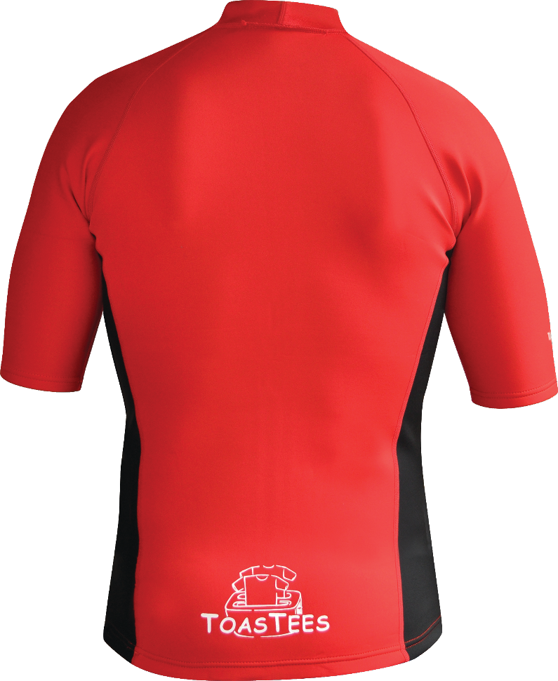 Men's Instructor Series.Chlorine Resistant. Short Sleeve. Red Black