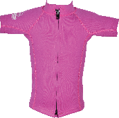 Regular size kids wetsuit top. Pink. Short Sleeve. Full zip at front.