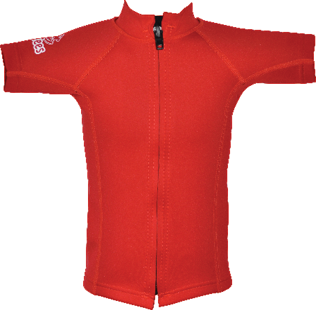 Regular size kids wetsuit top. Red. Short Sleeve. Full zip in the front
