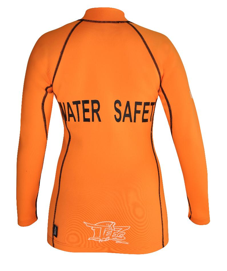Women's Ocean series wetsuit top. Flouro Orange. Long Sleeve
