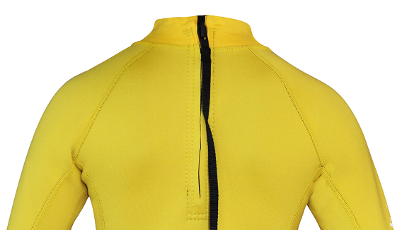 Regular size kids wetsuit top. Short Sleeve. Yellow. Zip in back of neck.